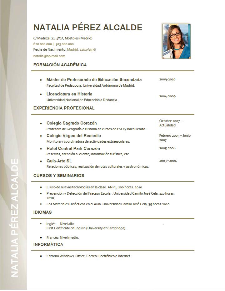 Elaboración del curriculum de profesores. Plantillas de CV para ...