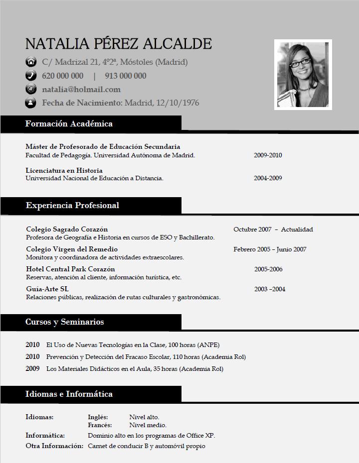 Elaboración del curriculum clásico. Plantillas de CV para enviar a ...