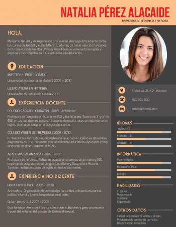 currículum profesor n° 192 - buscar empleo en colegios