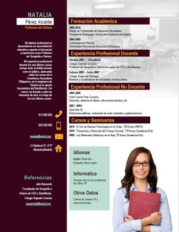 currículum profesor n° 52 - para colegios privados