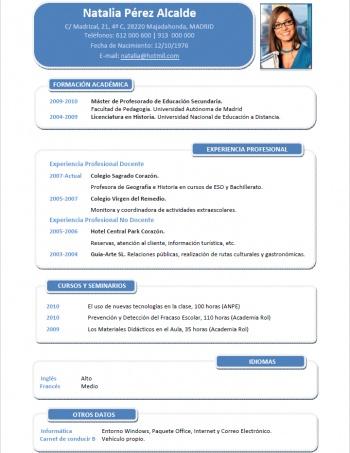 currículum profesor n° 64 - empleo colegios privados