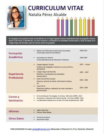 currículum profesor n° 110 - trabajo colegios privados