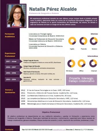 currículum profesor n° 25 - buscar empleo en colegios