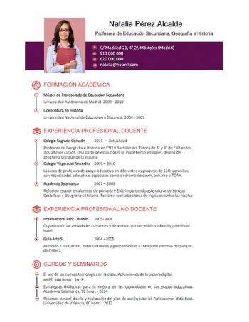 currículum profesor n° 15 - enviar cv colegios