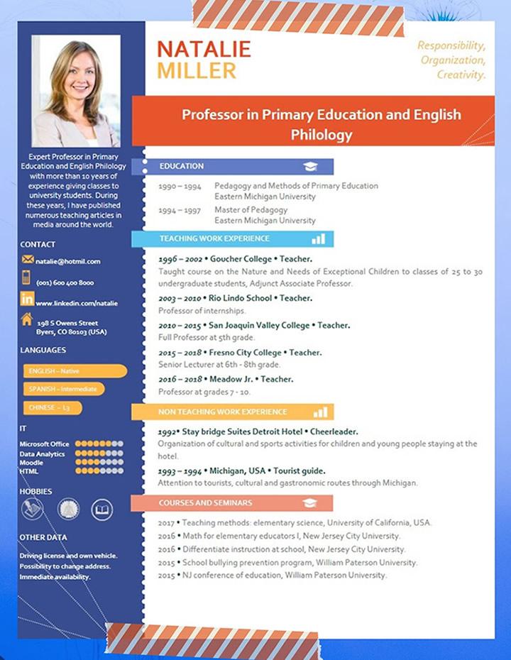 curriculum, vitae, example, for, teacher