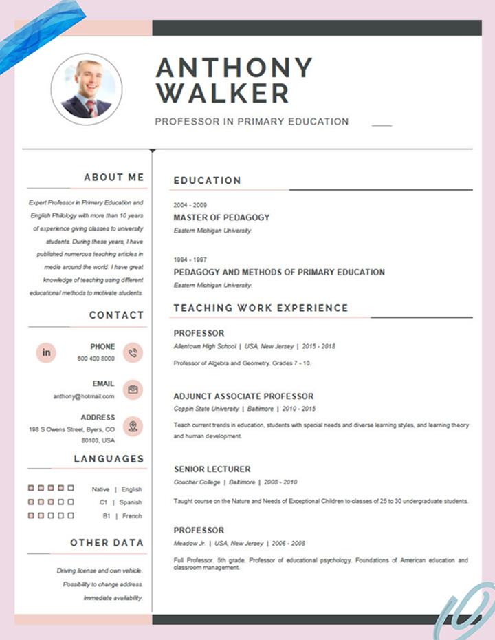 cvs,template,for,teachers