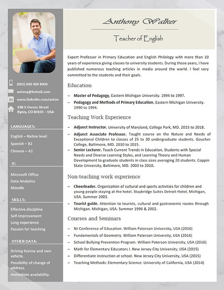 professional, teacher, resume