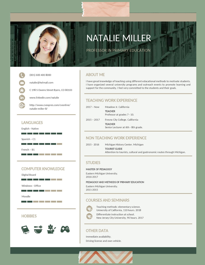 resume, objective, for, teacher
