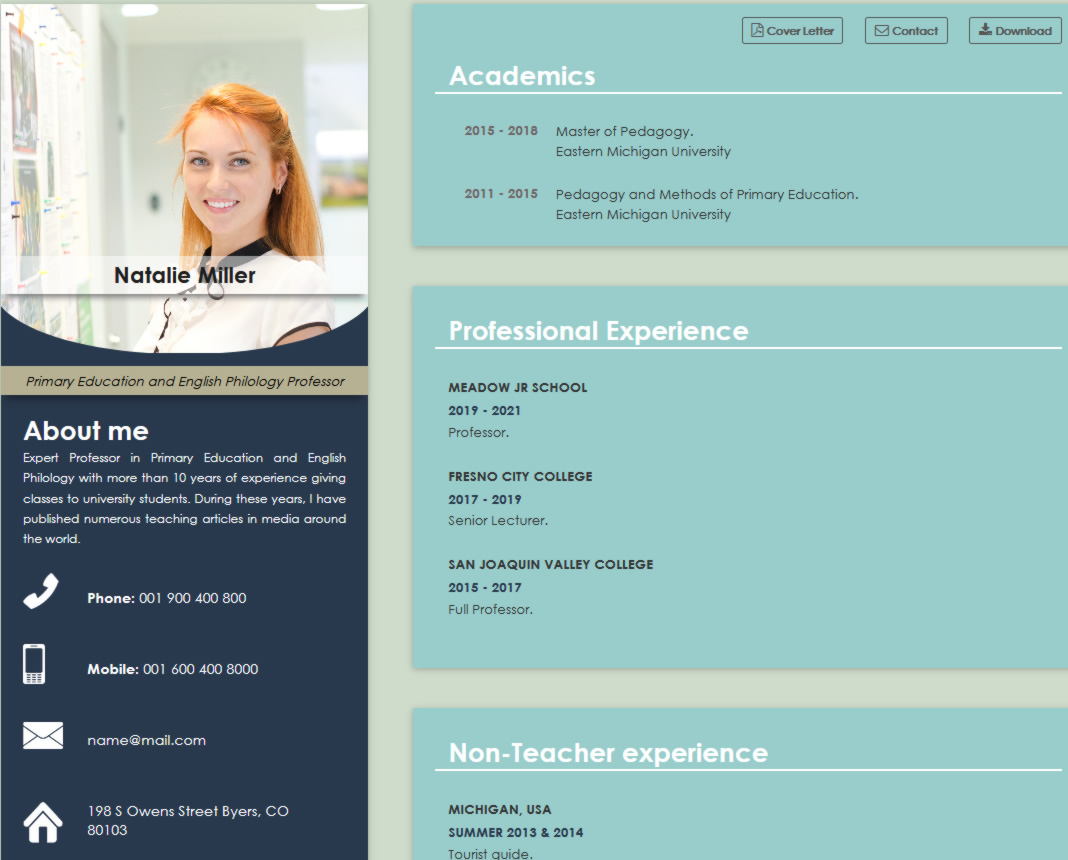 school jobs online cv